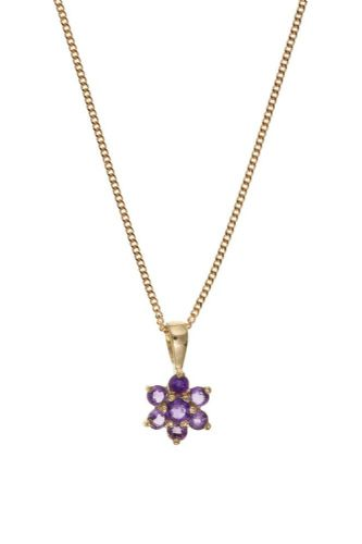 9 Carat Yellow Gold Amethyst Cluster necklace